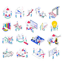 Business startup isometric icons vector