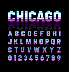 Chicago retro style neon tube glow typeface latin vector