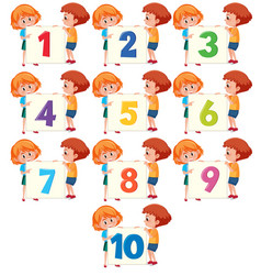 Children holding number board vector