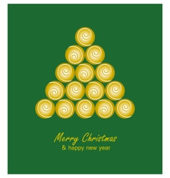 Christmas card with golden tree and balls on green vector