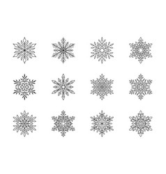 christmas snowflakes collection isolated on white vector image