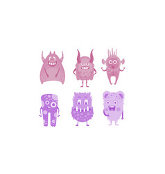 colection of cute monsters colored funny alien vector image