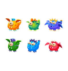 colorful little glossy fantastic monsters set vector image