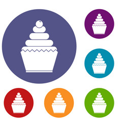 cupcake icons set vector image