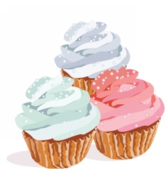 Cupcakes isolated on white background vector image