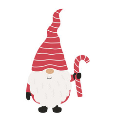 cute christmas gnome with candy vector image