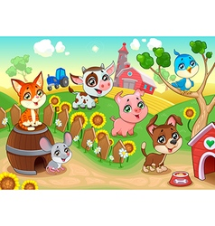 Cute farm animals in the garden vector image
