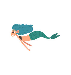 cute happy smiling little mermaid swimming vector image