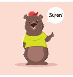 cute little bear cartoon character in t vector image