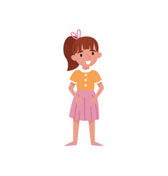 cute little girl with ponytail standing vector image