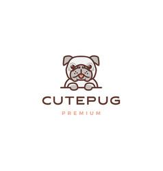 Cute pug dog cartoon character mascot logo icon vector