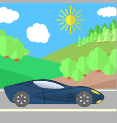 dark blue sport car on a road on a sunny day vector image