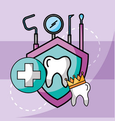 Dental care tooth crown tools protection vector
