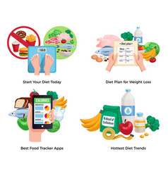 diet for weight loss 2x2 design concept vector image