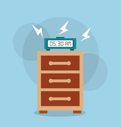 Digital clock alarm on bedside table vector