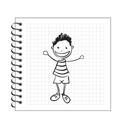 Doodle boy on notepad paper vector