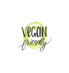 eco organic food logo vegan friendly hand vector image