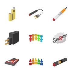 Electronic cigarette icons set cartoon style vector