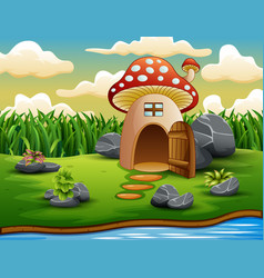Enchanted mushroom house in nature background vector