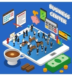 Financial business center isometric composition vector