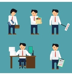 Flat depressed businessman vector