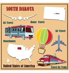 Flat map of South Dakota vector image