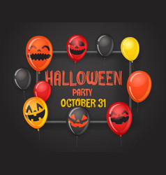 Frame with halloween balloons halloween party vector