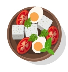 Fresh salad with cheese eggs tomatoes and greens vector