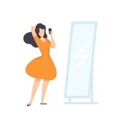 girl looking in mirror and taking selfie photo on vector image