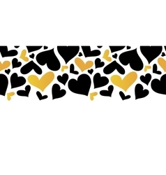 Gold and Black Hearts Horizontal Seamless vector image