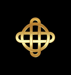gold celtic knot interlocked circles luxury logo vector image