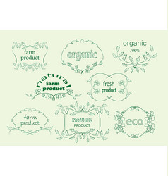 green floral labels for natural products vector image