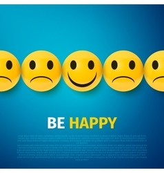 happy and sad faces group be poster vector image