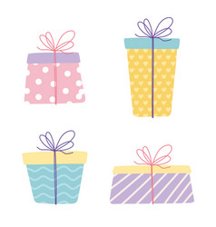 Happy birthday gift boxes wrapped surprise vector