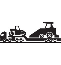Heavy duty truck with road construction machinery vector