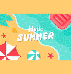 hello summer background with beach vector image