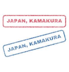 Japan kamakura textile stamps vector