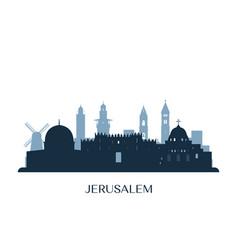 jerusalem skyline monochrome silhouette vector image