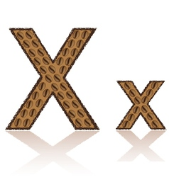letter x is made grains of coffee isolated on whit vector image