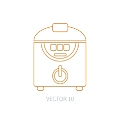 Line flat kitchenware icons - double boiler vector