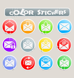Mail color stickers vector