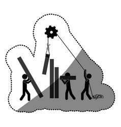 monochrome pictogram sticker with construction vector image
