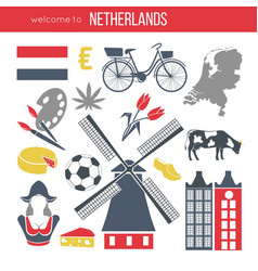 netherlands travelling sketch for tourists of vector image