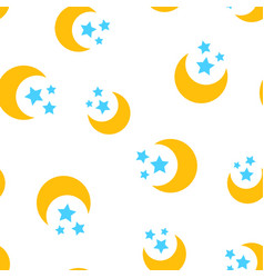 nighttime moon and stars icon seamless pattern vector image