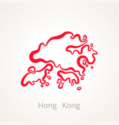 Outline map of hong kong marked with red line vector