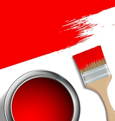 Paint brush and a bucket red paint vector
