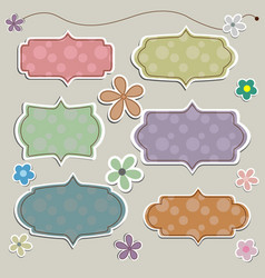 paper banner in vintage or retro style with flower vector image