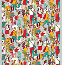 People travel luggage crowd seamless pattern vector