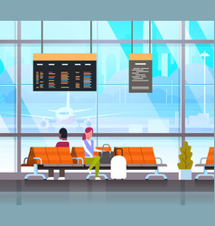 People waiting for takeoff in airport hall or vector