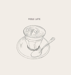 Picolo latte hot coffee sketch vector